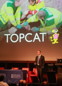 Dr Richard Lyon discussing the TOPCAT study. Photo Credit: Lee Parker